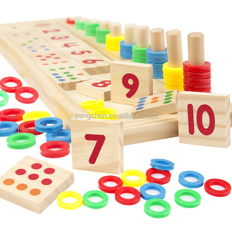 Montessori Rainbow Rings Dominos Children Preschool Teaching Aids Board Wooden Math <strong>Toy</strong>