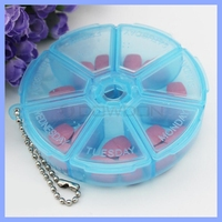 Custom Clear 7 Days Pill Carry Case Candy Color Round Shaped Plastic Medicine Box
