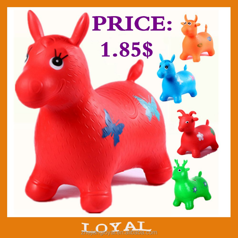 Multicolor PVC Dog jumping animal toy PVC inflatable bouncing horse with music and paint normal hopping animal