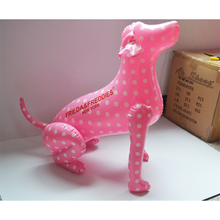 Custom Small Inflatable Dog Pink and White Dog Mannequin Plastic Dog Toy Model