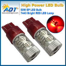 HIGH POWER CHIP! 2PC RED 50W SMD 7443/7440/T20/S25W LED LIGHT BULB TAIL BRAKE LIGHT