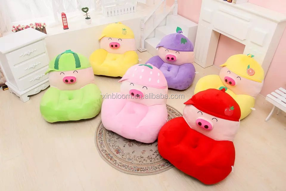 lovely cartoon animal model mcdull piggy kids' lazy small plush soffa