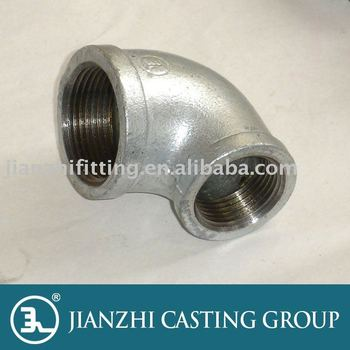 Hot-dip cast iron pipe elbow, reducing type