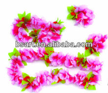 Polyester hawaii flower lei with head garland and bracelets
