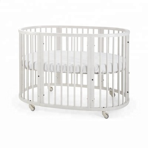 No. 1261 Wood Round Extendable Solid Wood Baby Crib