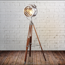 Industrial vintage lamp natural wooden colour adjusted height E27 tripod floor lamp