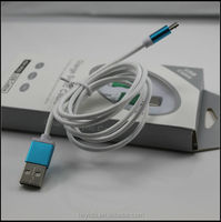 High speed White color braided blue/green A male micro usb cable for iphone 4/4s/5/5s and samsung