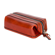 new genuine leather dopp kit shaving accessory toiletry travel bag men vintage
