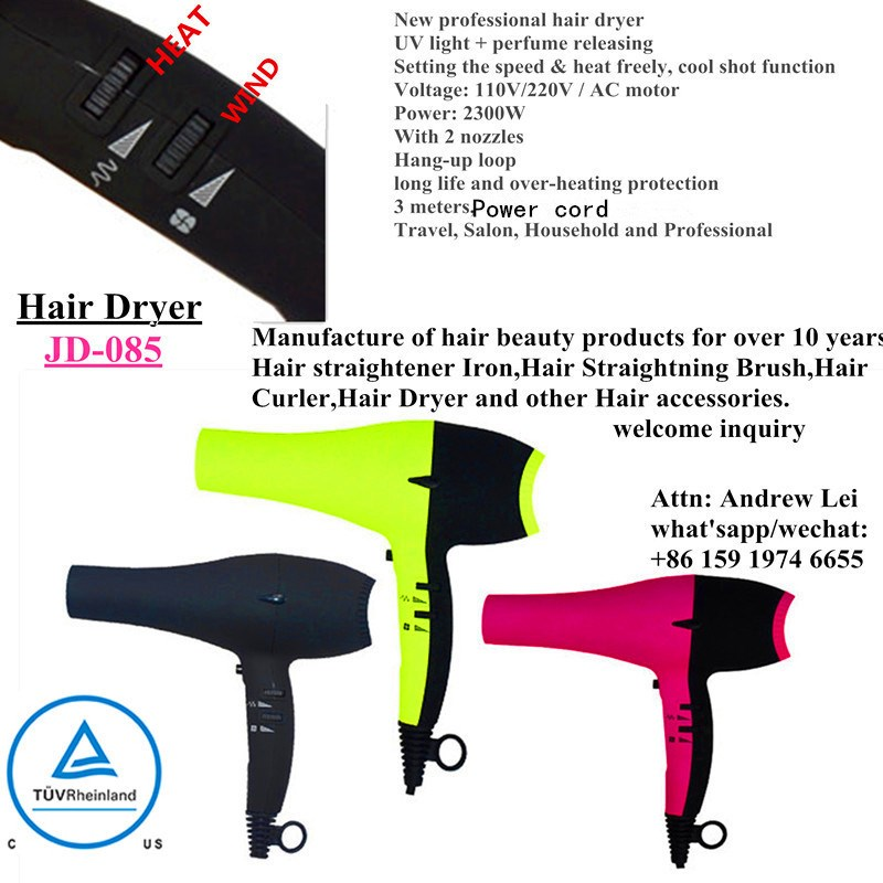 c TUV us / ETL / UL certisficated hair dryer with UV LIGHT and Perfume