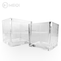 Machine pressed Square Glass Vase in high clear color