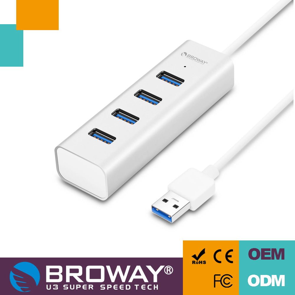 Factory Unibody 4 ports USB 3.0 Aluminum Hub with 40CM cable
