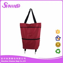 10 years factory wholesale price polyester wheel foldable trolley bag for shopping