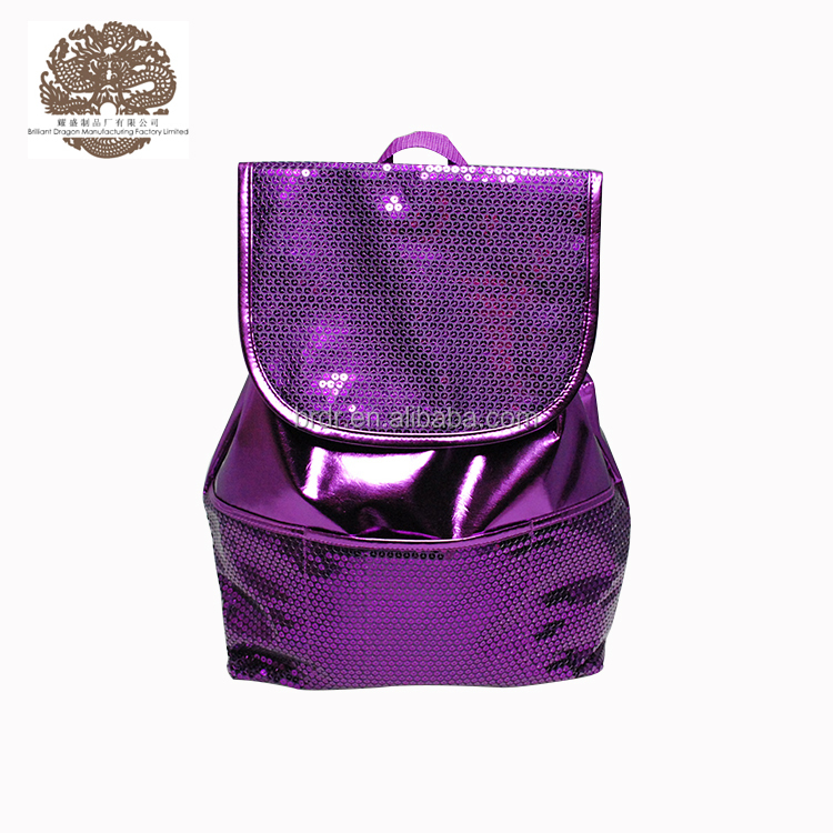 Latest Model#GPSBG-0674E Sexy Purple Teens Girls Daily Sequin Drawstring Backpack