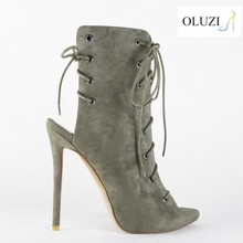 OLNS011 Sexy Lace Up Ankle Boots Cut out Peep Toe High Heel No Wedge Sandal Boots in Summer