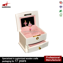 MDF high gloss wooden ballet wind up custom song music box movements