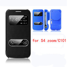 Coque Cover Bags Smart Case Front Window View Phone Housing Luxury Leather Flip Case For samsung galaxy s4 zoom/c101