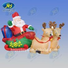 best selling inflatable santa clause with deers pulling cart
