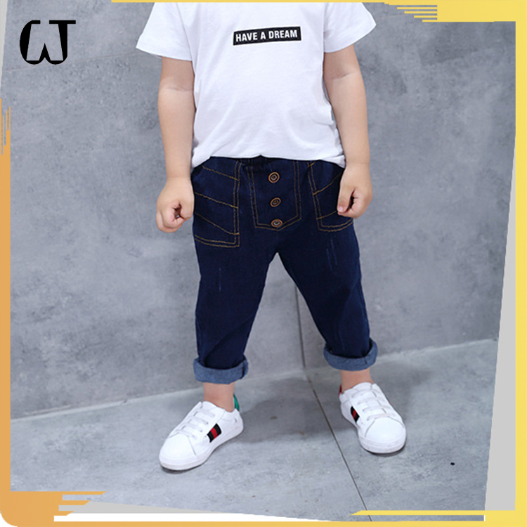 F6824#2017 new arrivals eur american vogue vintage fashion fine line heram buttons boys jeans kids denim pants china wholesale