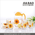 pitcher drinking glass set 7pcs water drinking glass set Deli water drinking set with polyfoam package