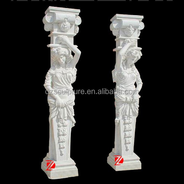 decorative marble column with lady statue