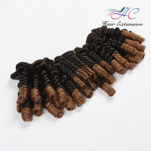 Factory Directly Sale #1b/#3 Ombre Color Bouncy Curl Indian Human Hair Weft