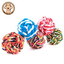 Wholesale PET Braided Cotton Rope Ball Dog Toy Teeth Cleaning Chew Toys for small and medium sized dogs