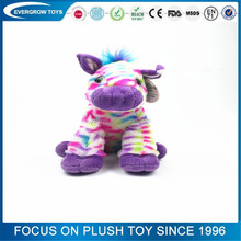 hot sale logo printed custom sitting colorful horse toy stuffed plush toy