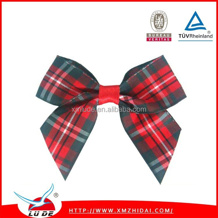 2015 decorative tartan ribbon bow for garment