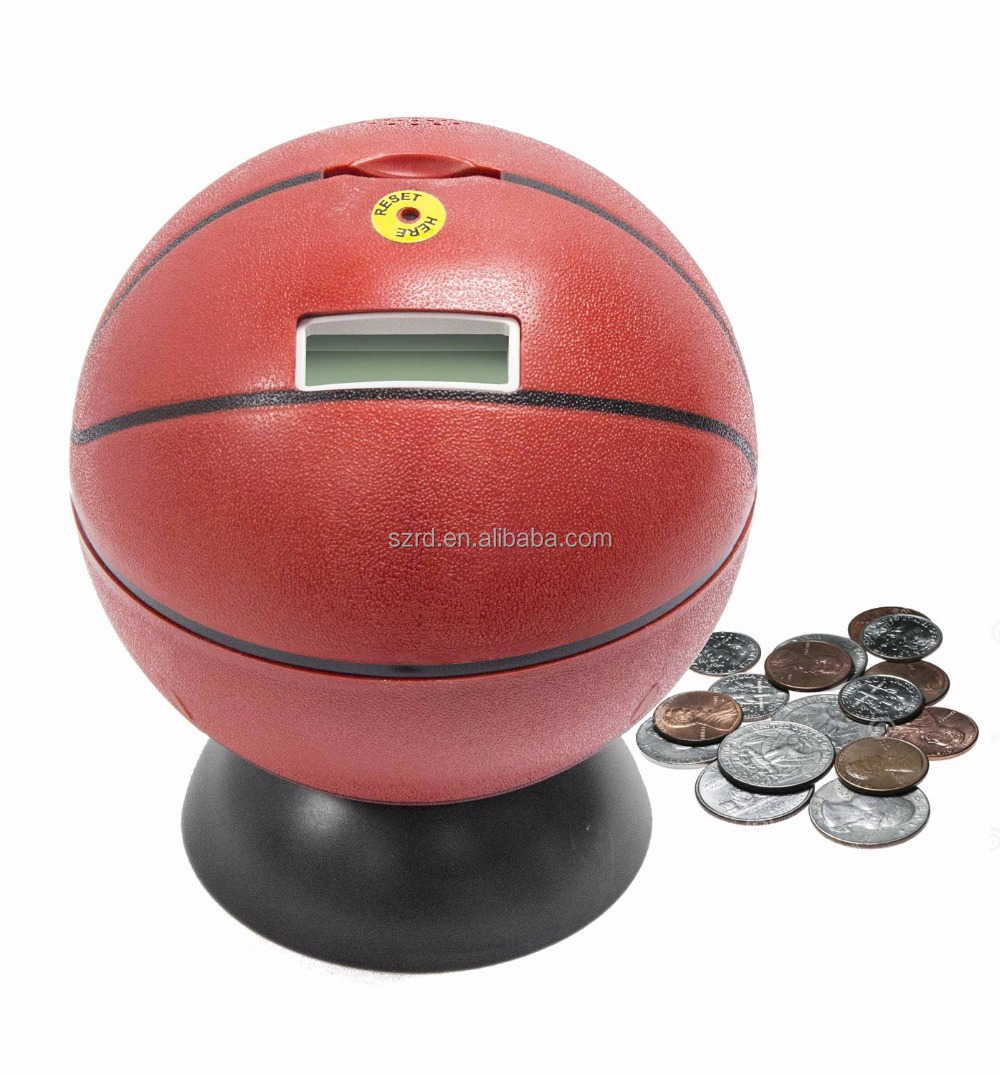 Oem Basketball Piggy Bank Can Count Money Boxes Custom