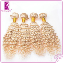 5a Blond Double Weft cash on delivery hair, Afro Kinky Curly mulatto hair weaves, noble gold synthetic hair
