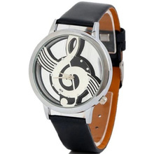 Cheap creative musical note hollow design leather wrist watch no dial watch