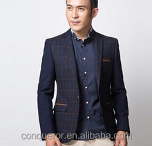 young men blue plaid suit bespoke suit jacket SHT876