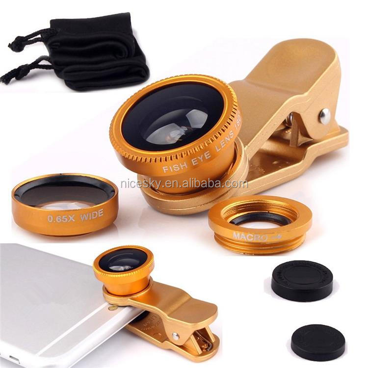 Universal 3in1 Clip On Camera Lens Kit 180 degree Fisheye +Wide Angle +Macro for Cell Phone