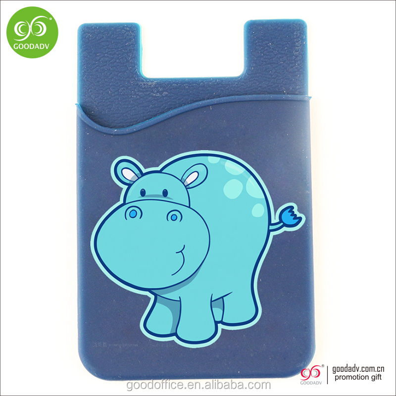 Fashionable logo printing smart phone wallet adhesive silicone phone wallet