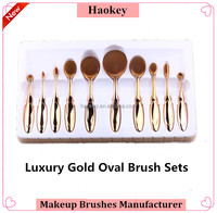 Cosmetics make your own brand professional rose gold oval makeup brush set