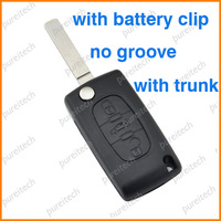 peugeot flip remote key shell replacements with trunk has battery holder VA2 blade car key