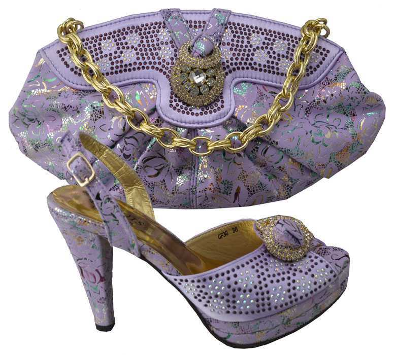 2015 new coming wedding shoes and bags/lilac wedding italian shoes with matching bags
