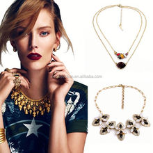 Yiwu Collection bib statement necklace,2015 jewelry,gold long chain pearl necklace