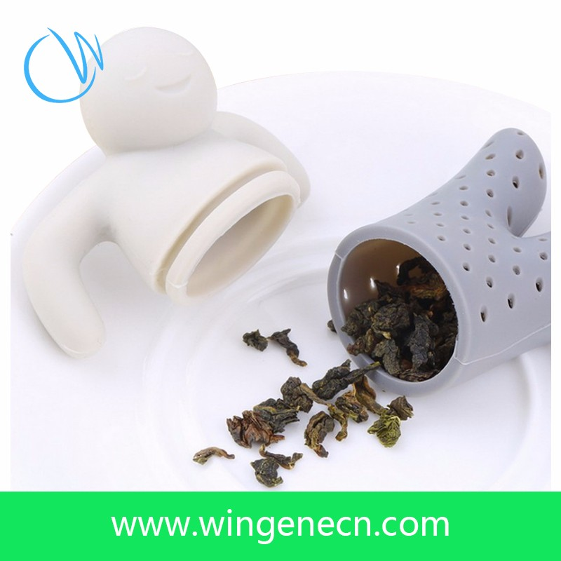 New Products Non-toxic Human Shape Silicone Tea Strainer