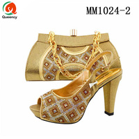 MM1024 Queency 2017 Fashion Genuine Leather Italian Lady Gold Slingback Shoes and Bags Set for Female