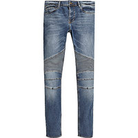 Hot selling Mens Mid blue wash biker Danny super skinny jeans with special design