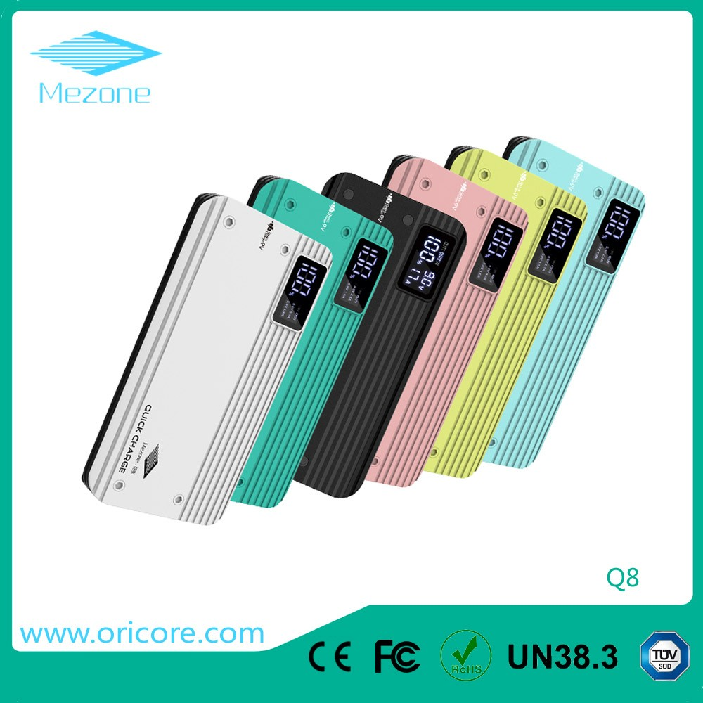 Hot sale Portable Quick Charge 3.0 Power Bank fast charging 10000mah powerbank LCD