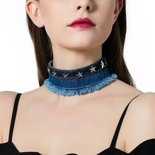 New Arrival Punk Denim Choker Necklace for Women Stars Decors Fashion Neck Accessories