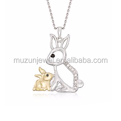 New Design 100% 925 Sterling Silver Diamond Rabbit Mother and Baby Rabbit Pendant Necklace