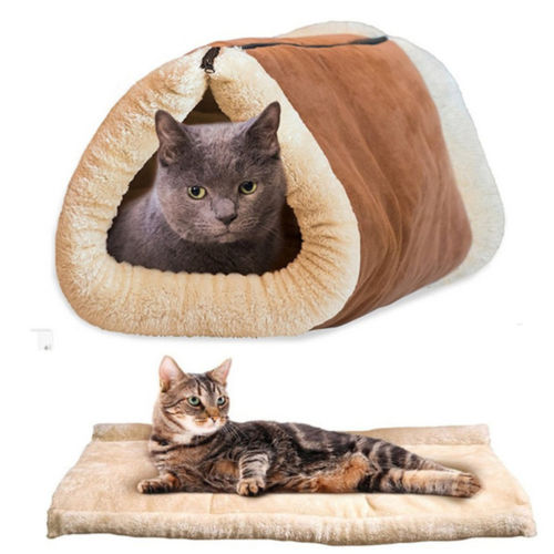 2 IN 1 Portable Pet Dog House Soft Bed Kennel Deluxe Small Indoor Mat Puppy Room