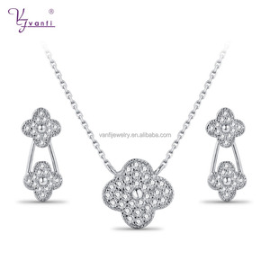 Flower fashion clover rhodium plating copper earring and necklace sets cheap price