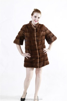 Excellent condition Genuine Fur Mink Stole wrap coat Coffee