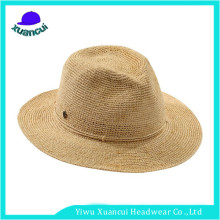 Cheap wholesale paper ladies straw hats summer beach panama women straw hat to decorate