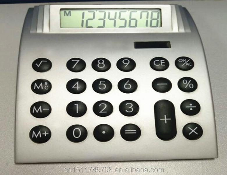 Dual Power Source and 8 Digits arched shape Office Desk Top Calculator