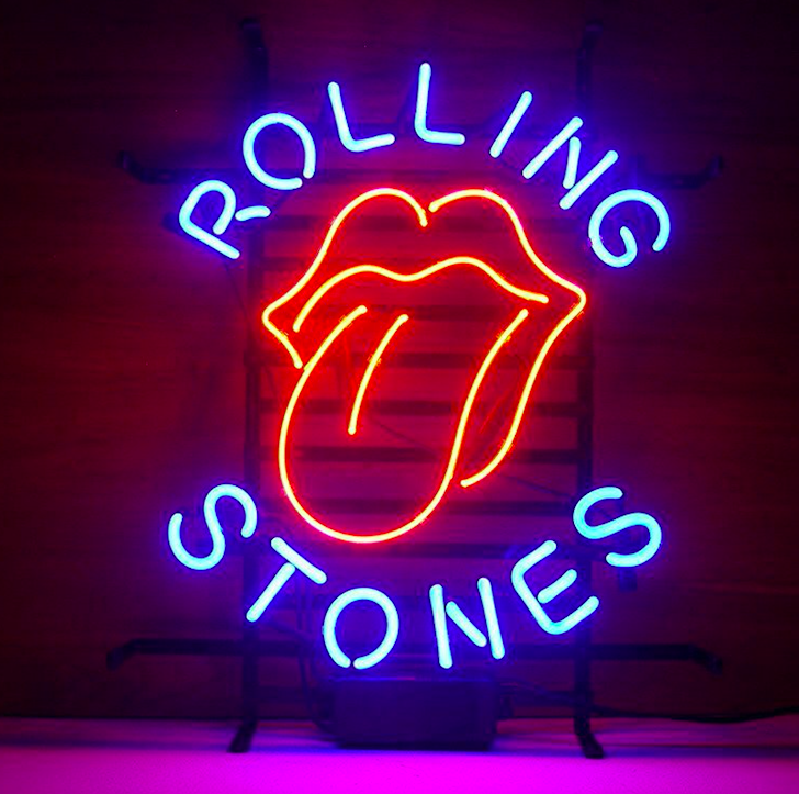 Rolling Stones Real Glass Neon Light <strong>Sign</strong> Home Beer Bar Pub Recreation Room Game Room Windows Garage Wall <strong>Sign</strong>